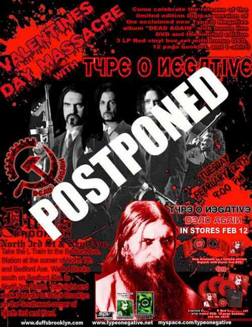 Type O Negative Party Postponed