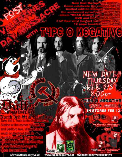 Type O Negative Party Rescheduled