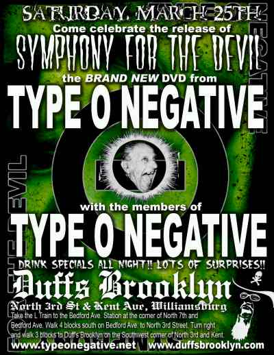 TYPE O NEGATIVE PARTY @ DUFF'S BROOKLYN